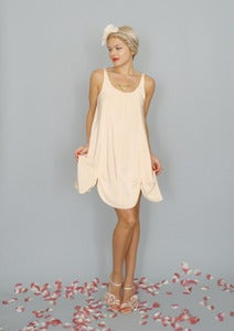 Image of Petal: Silk crepe de chine petal hem a-line tank dress