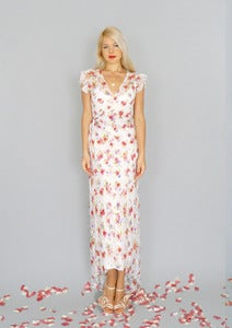 Image of Simone: Floral white lace boho wrap gown with flutter sleeves...