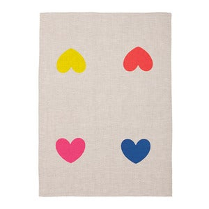 Image of Endless Love multi-colour heart natural teatowel
