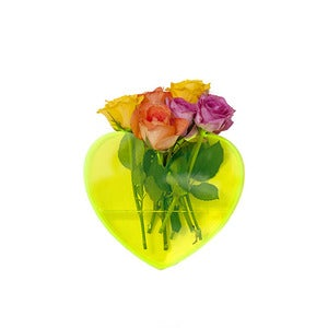 Image of Queen of Hearts neon yellow heart vase      