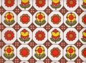 Image of Vintage Orange Pop Flowers Wallpaper
