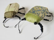 Image of Small Jewel Beetle Soft Sculpture Green or Blue  Vintage Fabrics
