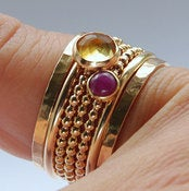 Image of Ruby &amp; Citrine Stackable Birthstones Mothers rings - Personalized Jewelry