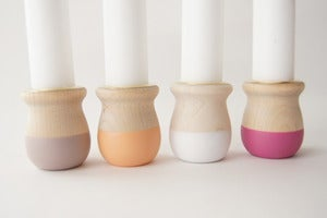 Image of Wooden Candle Cups set of 4 {Natural Glow}