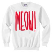 Image of MEOW! White Crew Neck Sweater (Red)
