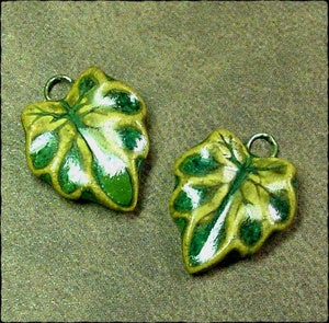 Image of Small Veined Leaf Charm Pair