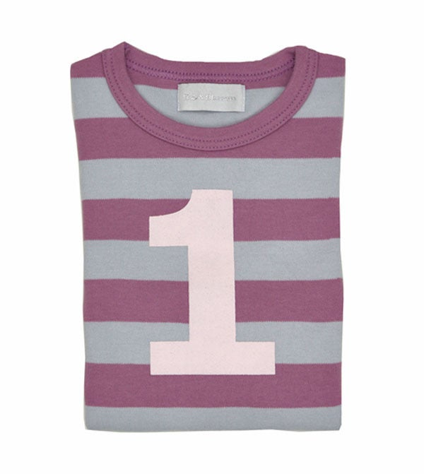 Image of Birthday Tee (No. 1), Dusty Violet &amp; Dove Grey Striped