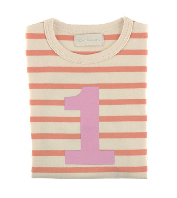 Image of Birthday Tee (No. 1), Peaches &amp; Cream Breton Striped