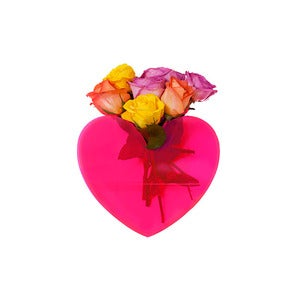Image of Queen of Hearts neon pink heart vase   