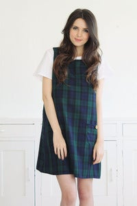 Image of Dorothy Tartan Pinafore in Navy/green
