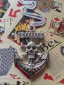 Image of Large Anchor & Skull Cross Bones Pendant Necklace Rockabilly Punk Psychobilly Nautical