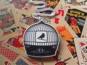 Image of Acrylic Printed Vintage Style Old Fashioned Bird Cage Necklace Rockabilly Kitsch Retro Necklace