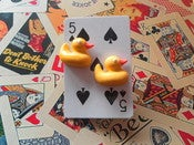 Image of Rubber Duck Funfair Bathtime Rubber Duckie Kitsch Retro Bird Earrings