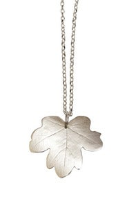 Image of field maple pendant on long length silver chain