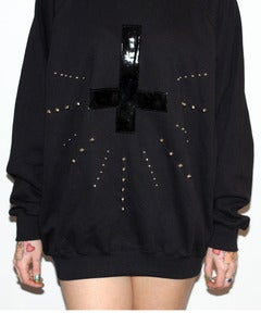 Image of Unisex Sweatshirt with Black PVC Upside Down Cross and Studs