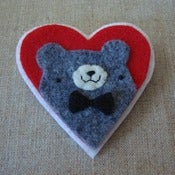 Image of gray pudgy bear + bowtie heart