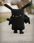"Image of Flat BatBun the Bat Bunny Plush (Classic 12"") Handmade"