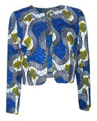 Image of Fair Trade African Print Round Neck Jacket Blue Yellow