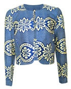 Image of Fair Trade african Print Round Neck Jacket Blue