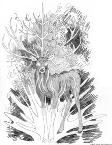"Image of Original Art, ""Five-Horned Stag"""
