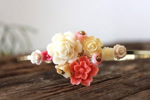 Image of Salmon & Ivory Floral Bouquet Headband