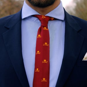 Image of Skull Knit Tie Burgundy
