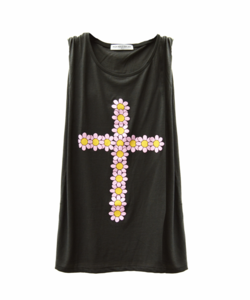 Image of FLOWER CROSS GREY MUSCLE TANK