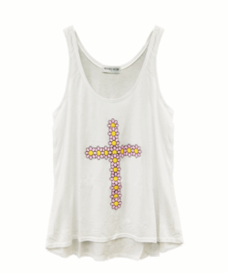 Image of FLOWER CROSS WHITE VEST
