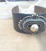 Image of Antique Brooch Leather Cuff
