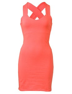 Image of CORAL CRISSCROSS DRESS