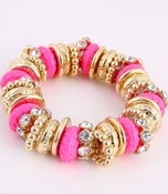 Image of CHUNKY PINK GOLD & RHINESTONE STRETCH BRACELET
