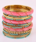 Image of STACKS ON STACKS PINK TURQUOISE & GOLD BANGLES