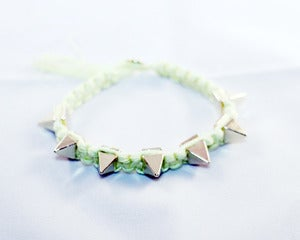 Image of Lime Green / Gold Spike Nylon Bracelet