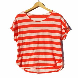 Image of Simple Stripe Tee<br>Orangy-Red