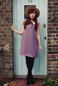 Image of Paige Purple Smock with Lace Collar