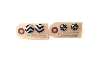 Image of Black + White Button Earrings