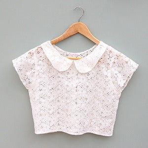 Image of Ivory Lace Peter Pan Collar Crop Top by Kee Boutique