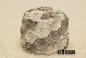 Image of Cream Tan Flower Petal Pouf Ottoman - Felt Flowers - NEW