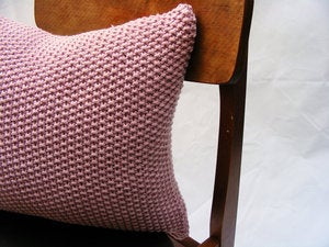 Image of Hand Knit Moss Stitch Cushion (Rose Pink)(40x40cm)