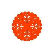 Image of Snow Flake Coasters box of 4 olive orange