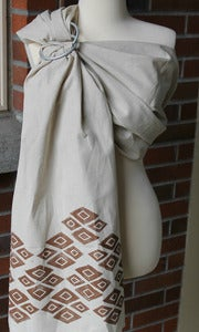 "Image of Umi Sling Baby Carrier: Handprinted Cotton-Linen Blend ""Gold Geo"""