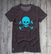 Skull &amp; Barbells Tee - Heather/Turquoise