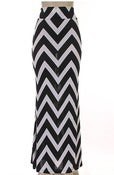 Image of Plus size zig zag striped maxi skirt