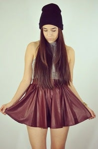 Image of Leatherette Skater Skirt- Burgandy 