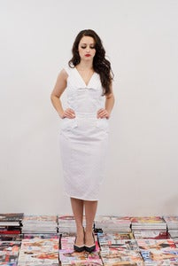 Image of White Broiderie Anglaise Wiggle Dress - Maltease MADE TO ORDER