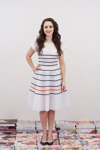 Image of Breton Stripe Tea Dress - Christina MADE TO ORDER