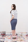 Image of Navy Stripe Pencil Skirt - Athena