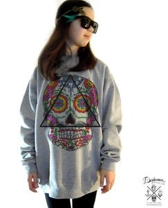 Image of Sweatshirt femme oversized Santa Muerte Mexican skull