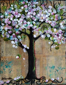 Image of Original Mixed Media Painting - Cheery Blossom Tree