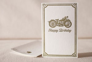 Image of Vintage Motorcycle Birthday Card